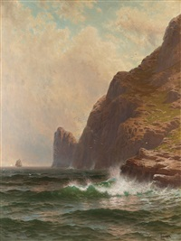 rocky cliffs with breaking waves by alfred thompson bricher