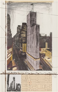 wrapped building (project for #1 times square, allied chemical tower, new york city) by christo and jeanne-claude