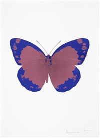 the soul ii - loganberry pink, westminster blue, blind impression by damien hirst