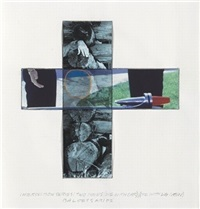 intersection series: two hands (one with car); (one with log cabin) by john baldessari