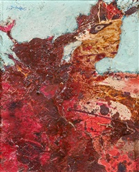 personnage assis (paysage rouge) by jean dubuffet