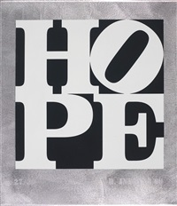 metal hope book, white-black by robert indiana