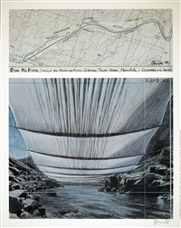 lot: 26 arkansas river from above, signed by christo and jeanne-claude