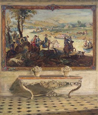 la chasse louis xv tapestry, château de fontainebleau by walter gay
