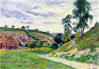 village with haystacks by maximilien luce