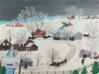 the brown mills by grandma moses