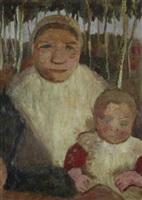 sitzende bäuerin mit kind vor birken by paula modersohn-becker