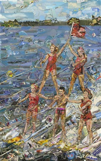 waterskiing (postcards from nowhere) by vik muniz