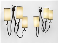 paire d'appliques liane / pair of liane wall lamps by jean royère