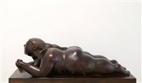 donna sdraiata con mela by fernando botero