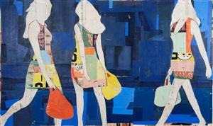 3 walking girls by jane maxwell
