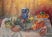 nature morte, melon, raubm poires, mais et pot bleu by henri charles manguin