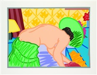 judy trying on clothes by tom wesselmann