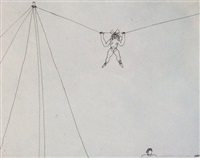 tightrope artist hanging by her hands (a08413) by alexander calder