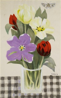 still life flowers & butterfly by mary fedden
