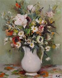 still life of flowers by marcel dyf