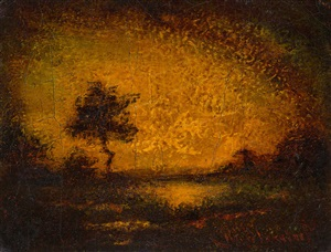 solitary tree at sunset by ralph albert blakelock