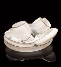 solitary white basket set with dark walnut lip wraps by dale chihuly