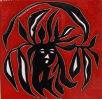 tile - square - red - dryad (8642) by jean lurçat