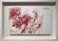 mousquetaire assis contemplant une femme by pablo picasso