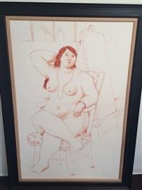 sitting woman by fernando botero