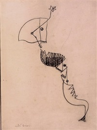 tête de cheval et poissons (horse head and fish) by andré masson