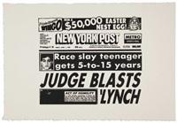 new york post (judge blasts lynch) by andy warhol