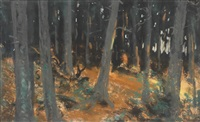 the woods at sunset by robert henri