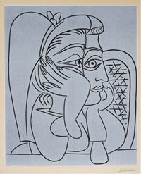 femme accoudée (portrait of jacqueline resting on her elbows) by pablo picasso