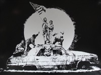 silver flags by banksy