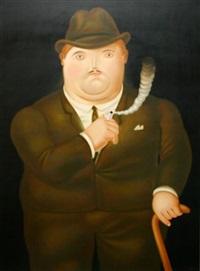 hombre fumando by fernando botero