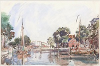 dutch canal (canal en hollande) by johan barthold jongkind