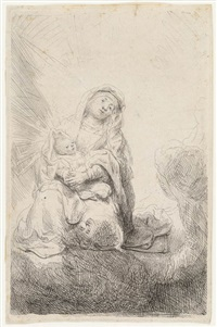virgin and child in the clouds by rembrandt van rijn