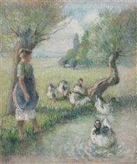 la gardeuse d'oies (la mare aux canards) by camille pissarro