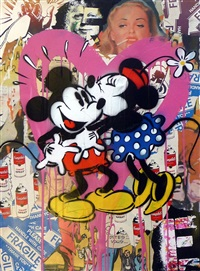 mickey & minnie mouse by mr. brainwash