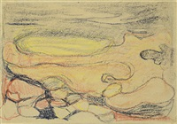 rocks at the edge of the sea by edvard munch