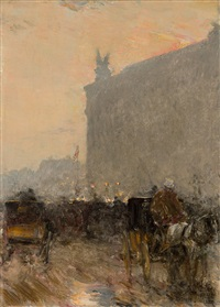 paris, at the opera house by childe hassam