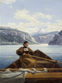young girl rowing on the lake of brienz by carl gustav carus