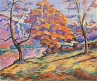 le grand chêne en automne, crozant by armand guillaumin