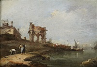 a capriccio of a ruined classical portico and a villa by the venetian lagoon by francesco guardi