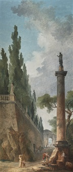 landscape with antiques by hubert robert