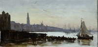 view of the amsterdam skyline, from the ij-harbour towards the west with the zuiderkerkstoren in the distance, on a september afternoon in 1854 by jean-baptiste-camille corot