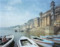 darbanga ghat, viewed from the boats leading into the ganga, varanasi, uttar pradesh, india by robert polidori