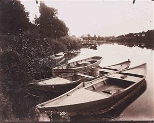 bords de marne (barques), le perreux (seine) by eugène atget