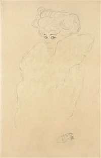 young woman in a fur coat by gustav klimt