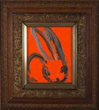 black bunny on red by hunt slonem