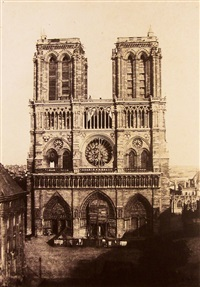 front view of notre-dame, paris by charles nègre