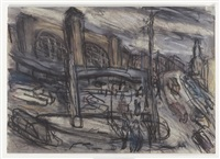king's cross stormy day no. 3 by leon kossoff