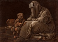 charity: a poor shame-faced woman by luca giordano