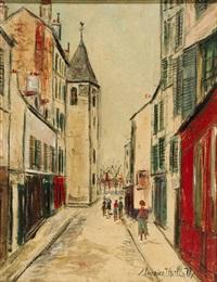 rue de l'église, puteaux (hauts de seine) by maurice utrillo